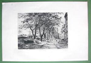 ORIGINAL-ETCHING-Print-ROUEN-Bazar-of-Saint-Marc
