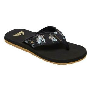 Quiksilver-NEW-Men-039-s-Monkey-Abyss-Flip-Flops-Black-White-black-BNWT
