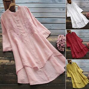 Women-Long-Sleeve-Casual-Long-Shirt-Dress-Asymmetrical-Hem-Blouse-Mini-Dress