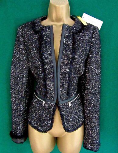 New KAREN MILLEN 10 14 16 Grey Black Collarless Tweed Blazer Fitted Coat Jacket