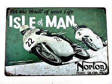 NORTON MOTO - ISLA DE MAN TT Metal Lata Letreros Vintage Pub Grand PREMIO Manx