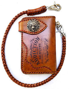 Leather-biker-trucker-wallet-motorcycle-Chain-Wallet-Red-Stitch-Indian-Chief