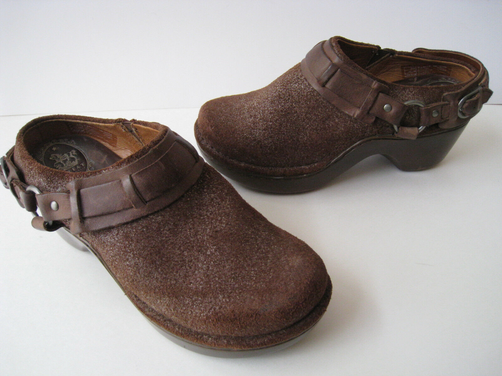 ARIAT ATS BROWN LEATHER HARNESS CLOGS MULES WOMEN US 6B NICE