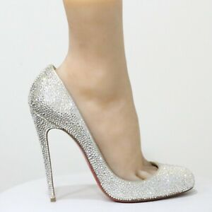 watch e6dba 967ca Details about Christian Louboutin Fifi White Wedding Shoes Swarovski Pumps  EU 38.5 US 8 - 8.5