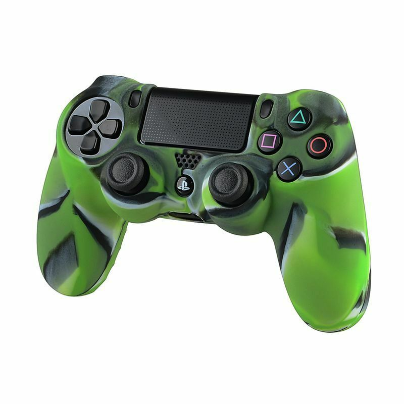 Camouflage Navy Green Soft Silicone Skin Case For Sony Playstation 4 PS4