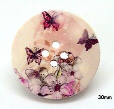 10 Large Natural Wooden Round 30mm Pink Butterfly, Flower, Buttons - BU1191
