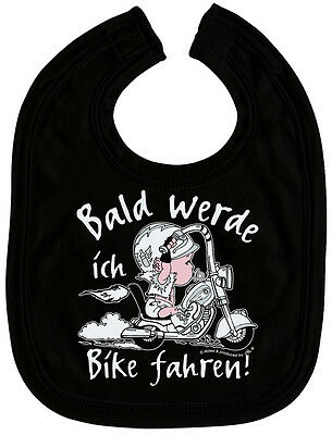 Lätzchen Biker bald Bike fahren 07006b Mädchen Schlabberlätzchen Black