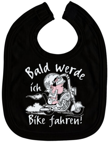 07006b Bavoir Motard bientôt Bike conduire-Fille perdait Bavoir Black