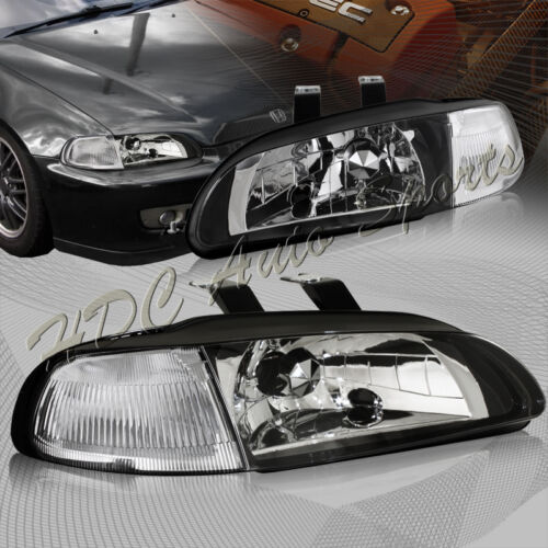 For 1992-1995 Honda Civic Hatchback//Coupe JDM Black Headlights W//Clear Reflector
