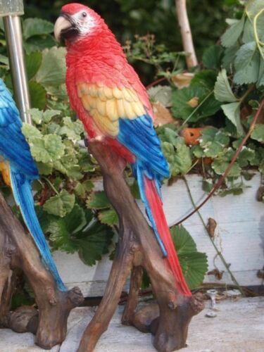 Papagei Deko Figur Ara Blau oder Rot naturgetreu wetterfest Garten Deko Neuheit