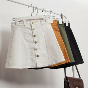Fashion-Women-039-s-High-Waist-A-line-Skirt-Front-Button-Single-breasted-Denim-Skirt