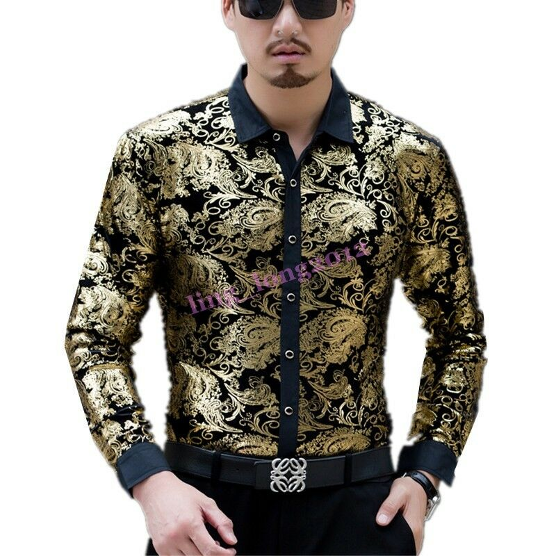 Fashion Men Mid Age Floral Shirts Casual Mulberry Silk Tops Long Sleeve Dress