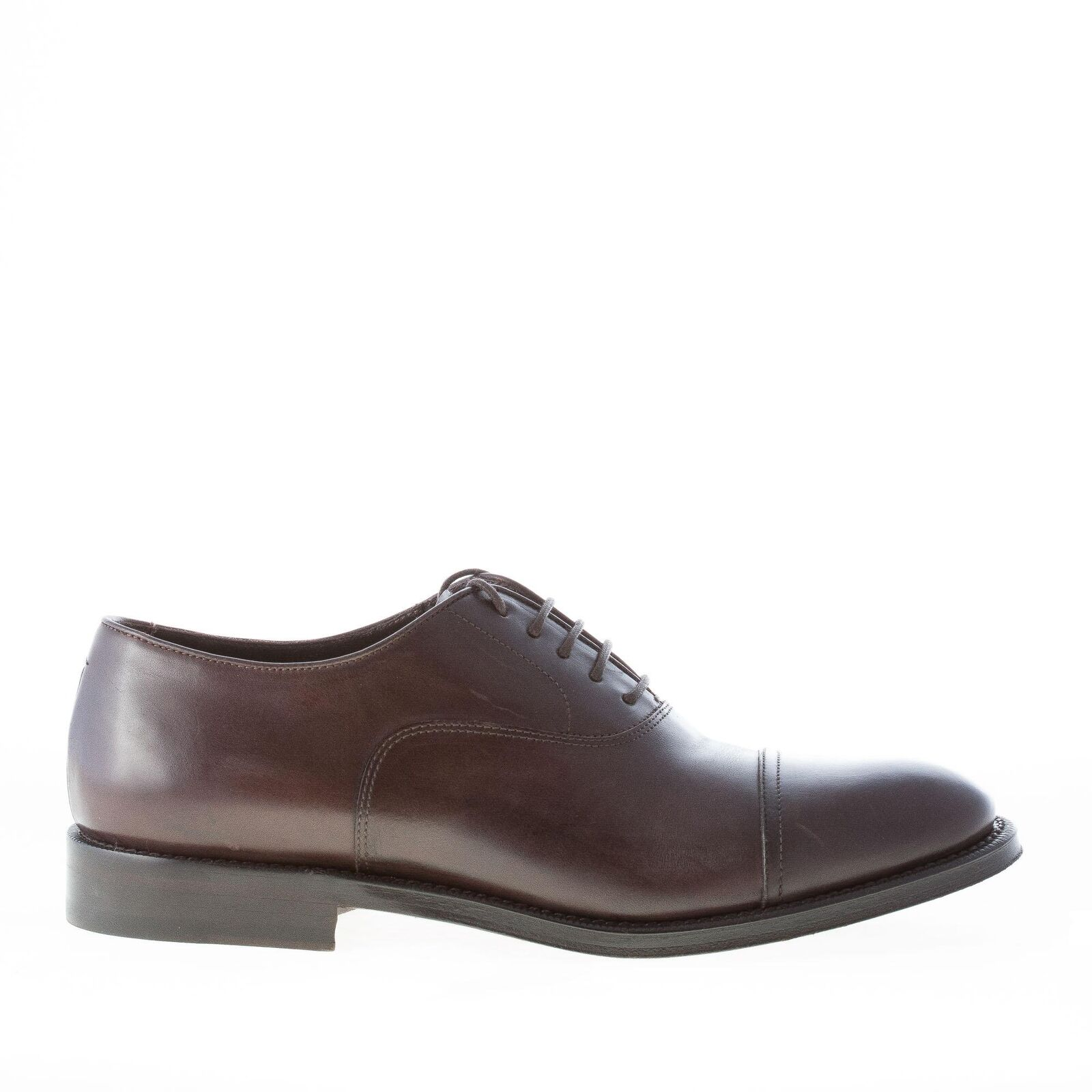 MIGLIORE men shoes Dark brown leather oxford lace up round cap toe made in Italy