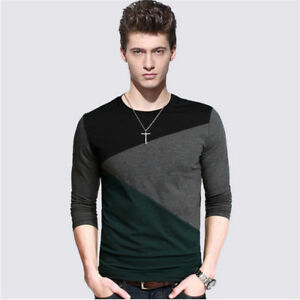 Men-039-s-Clothing-Long-Sleeve-Slim-Shirts-Casual-Cotton-Tee-Shirt-Tops-Pullover-5XL