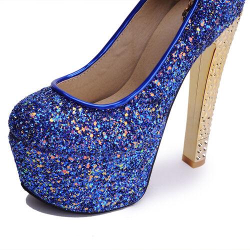 Plus Strap Platform Shoes Pumps Buckle Heel Ankle Glitter Block Sz Shiny Women's qFxZwC8O