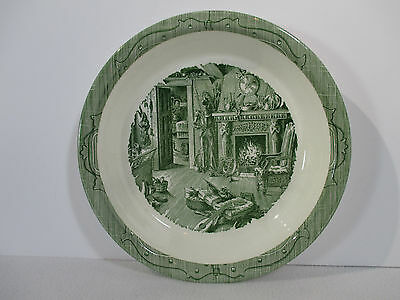 "Old Curiosity Shop Royal China Pie Plate Green Fireplace Armor Vtg 10"" Holiday"