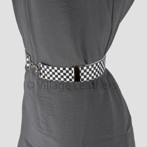 Black and White Chequered Checkerboard Elastic Snake Belt Flat Buckle Handmade i