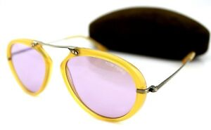 c8026ce94930a NEW TOM FORD Aaron Shiny Yellow Violet Lens Pilot Sunglasses TF 473 ...