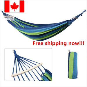Outdoor Camping Hammock Cotton Canvas Swing Bed with Spreader Bar Support 450Lbs