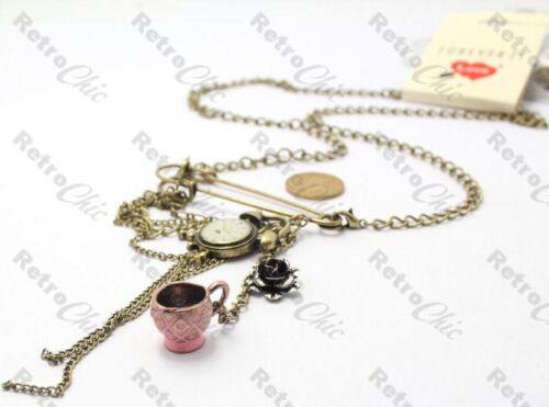 KILT PIN long NECKLACE//BROOCH vintage TEA CUP//CLOCK//ROSE charms antique brass
