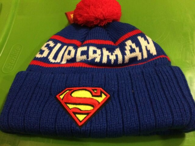 NEW Superman Beanie - Royal Blue One Size WITH TAGS POM KNIT ADULT HAT FREE  S 99a69254528