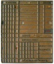 Antique Copper Print Block Check To Balance Recordform Vintage Printing Plate