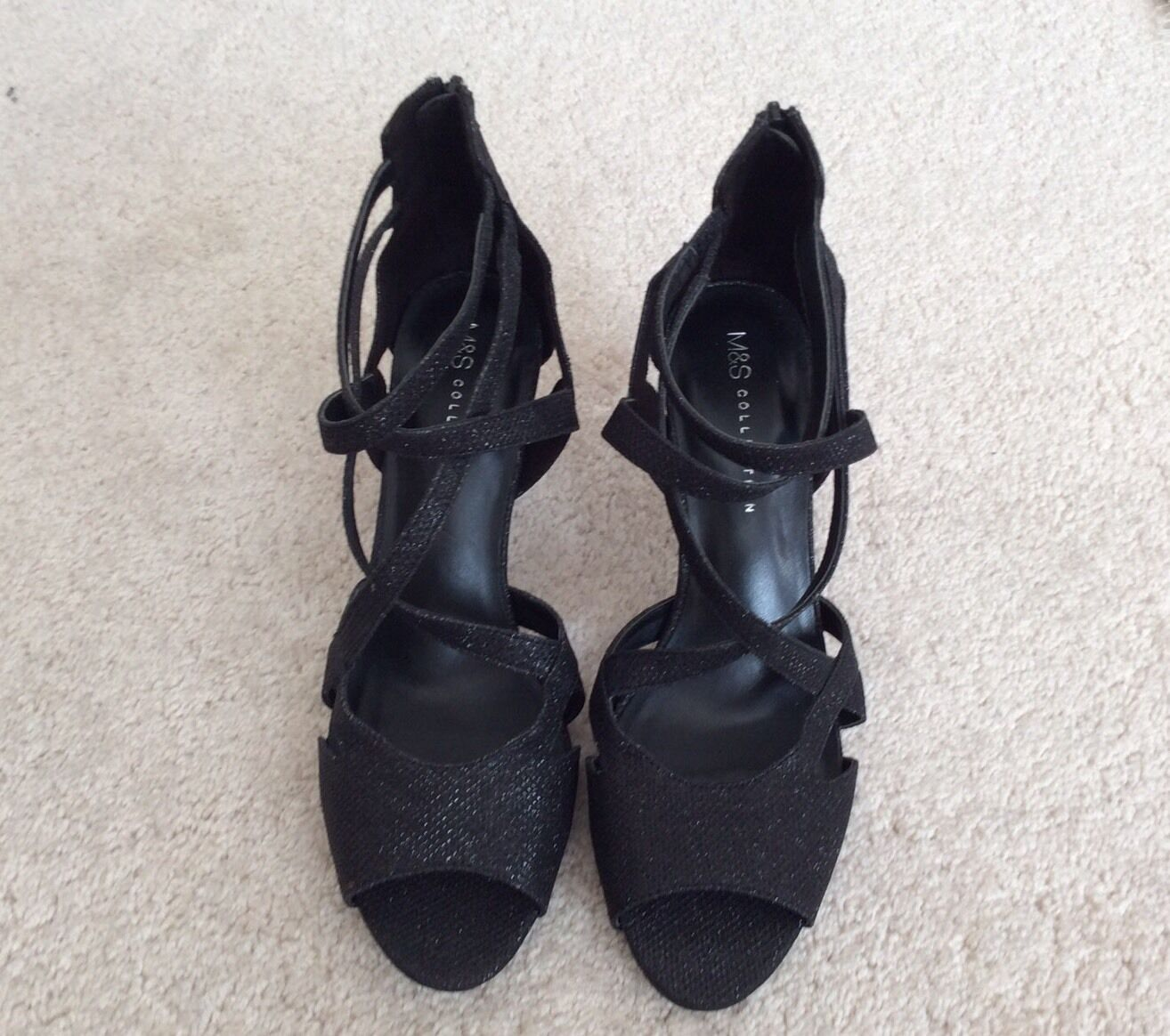 M&S Collection with Insolia Black Sparkle Stiletto New Open Toe Shoes - New Stiletto bf3df6