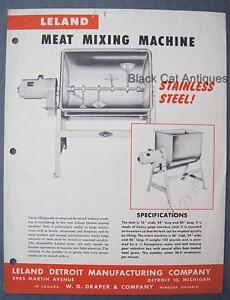 Original-Vintage-Leland-Meat-Mixing-amp-Tenderizing-Machines-Two-Sided-Sell-Sheet