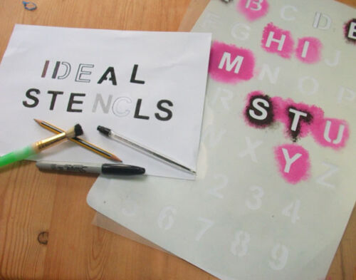 Plantilla del alfabeto A-Z//0-9 Mark Paredes telas Muebles Stencil Art Craft Pintura