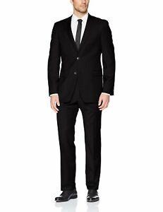 Tommy Hilfiger Mens Suit Black Size 44 Long Modern Fit 2 Piece Wool $650 077