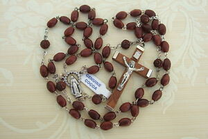 Catholic-Rosary-GENUINE-COCOA-Wood-DK-BROWN-5x7mm-beads-Miraculous-Medal-center