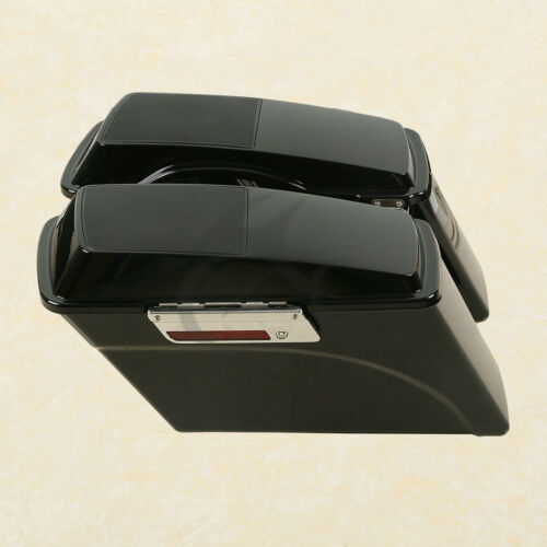 Vivid Black Saddle Bags w// Speaker Lid Key Fit For Harley Sportster Dyna Softail