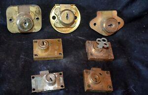 Lot-of-7-Vintage-Brass-Drawer-Door-Locks-Furniture-Cabinet-2-Corbin-1-w-Key