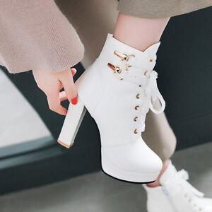Women-Block-Heels-Platform-Lace-up-Ankle-Boots-Buckle-Strap-Ladies-Casual-Shoes
