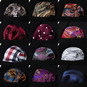 Hisdern-Men-Silk-Check-Pocket-Square-Hanky-Handkerchief-Classic-Wedding-Party-B2