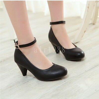New Women's PU Leather Round Head Ankle Strap Mary Janes Shoes Heels Plus Size
