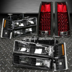 BLACK HEADLIGHT+AMBER CORNER+BUMPER+RED LED TAIL LIGHT FOR 94-02 CHEVY C10 C/K