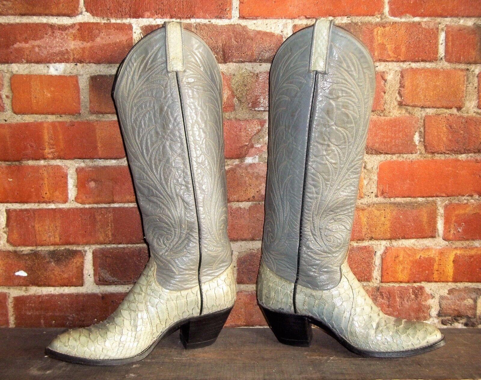 Clásico dan post gris gris gris Python barriga piel de serpiente Cowgirl botas de vaquero damas 7f7263
