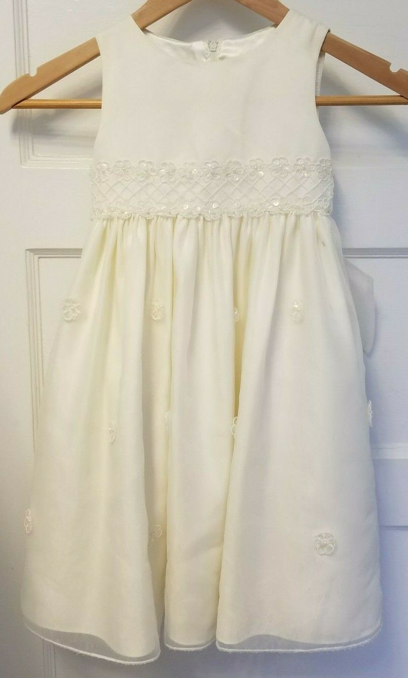 Flower girl dress ivory with sequin and beads, Cinderella brand, size 3/3T tulle