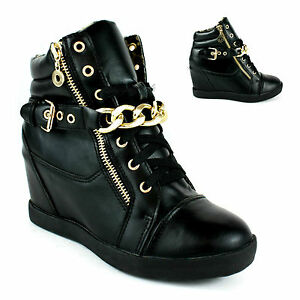 Ladies Womens Chain Buckle Hi High Top Hidden Wedge Platform Trainers Shoes Size