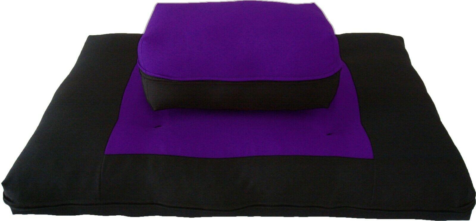 Zafu Zabuton Set, Cotton Cushions, Mats, Seats, Yoga Meditation Black/Purple