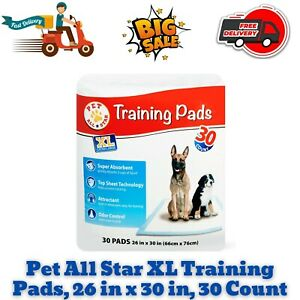 Pet All Star XL Training Pads, 26 in x 30 in, Absorbent, Leak Proof, 30 Count