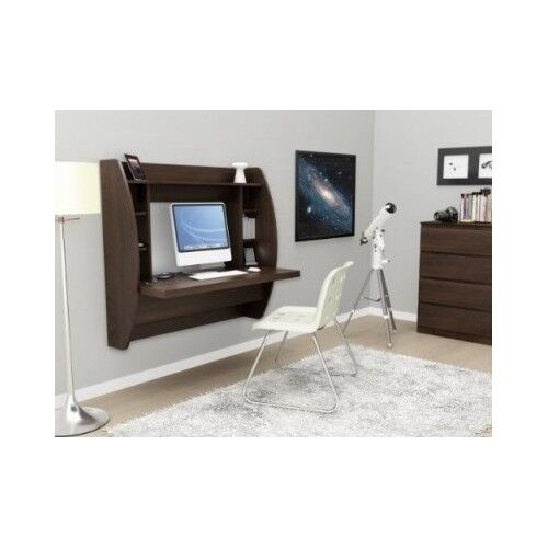 Floating Office Desk Wall Mount Storage Computer Espresso Brown Study  Laptop | EBay