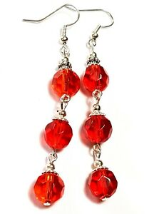 Very-Long-Silver-Red-Earrings-Glass-Beads-Drop-Dangle-Vintage-Style-Pierced