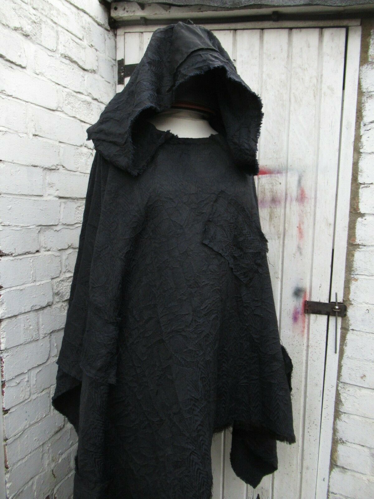 Medieval distressed cape hooded Reenactment lightweight creased wool blend patch