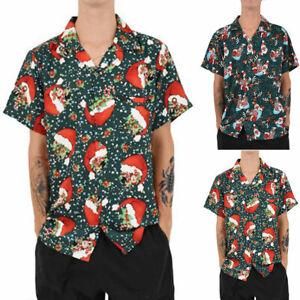 Mens-Vintage-Christmas-Hawaiian-Santa-Claus-Party-Size-Large-Hawaiian-Shirt-Top