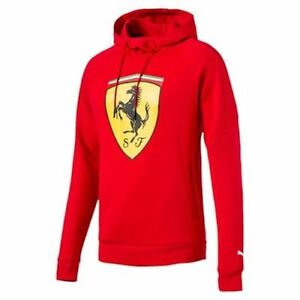 NWT-Puma-Ferrari-Men-039-s-Premium-Sweater-Big-Shield-Hoodie-Red-SZ-SMALL-MSRP-90