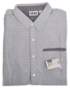 Vans-Men-039-s-Chambs-Grey-Casual-Button-Up-Shirt-Choose-Size