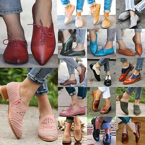 Womens-Leather-Brogues-Flats-Heels-Slip-On-Pumps-Oxford-Comfy-Loafers-Shoes-Size