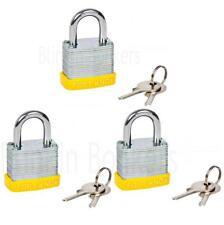 3 X LAMINATED 30MM PADLOCK LOCKER SECURITY LOCK 2 KEYS ZINC PLATED STRONG STEEL